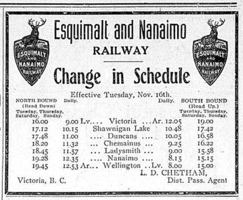 E & N Railway passenger service schedule, November 1909