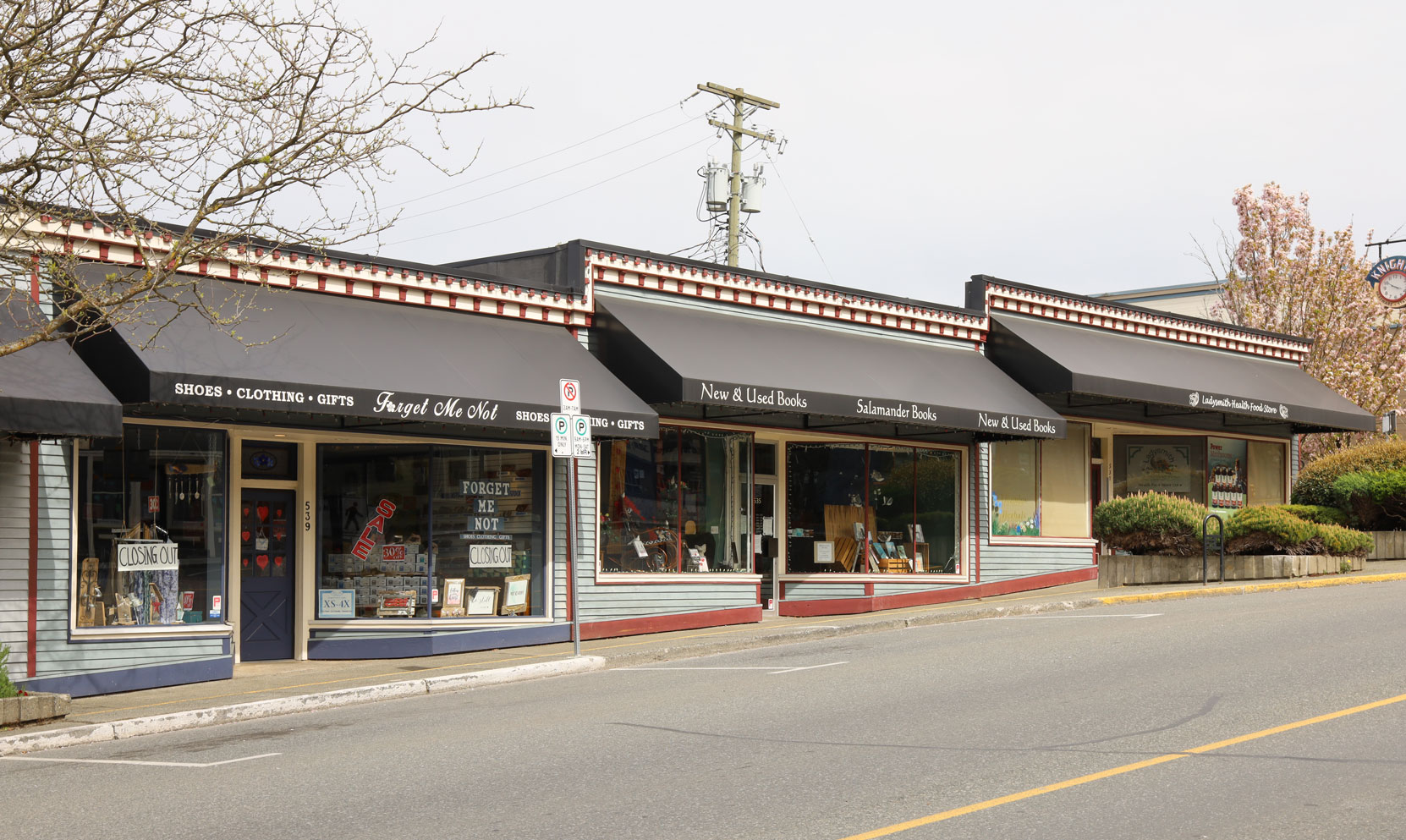 From left to right, 539-535-531 1st Avenue in downtown Ladysmith. These store fronts in a commercial building originally built in 1945.