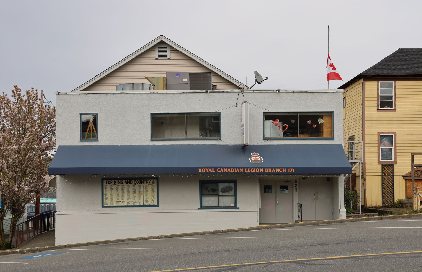 Royal Canadian Legion, Ladysmith Branch No. 171, 621 1st Avenue in downtown Ladysmith.
