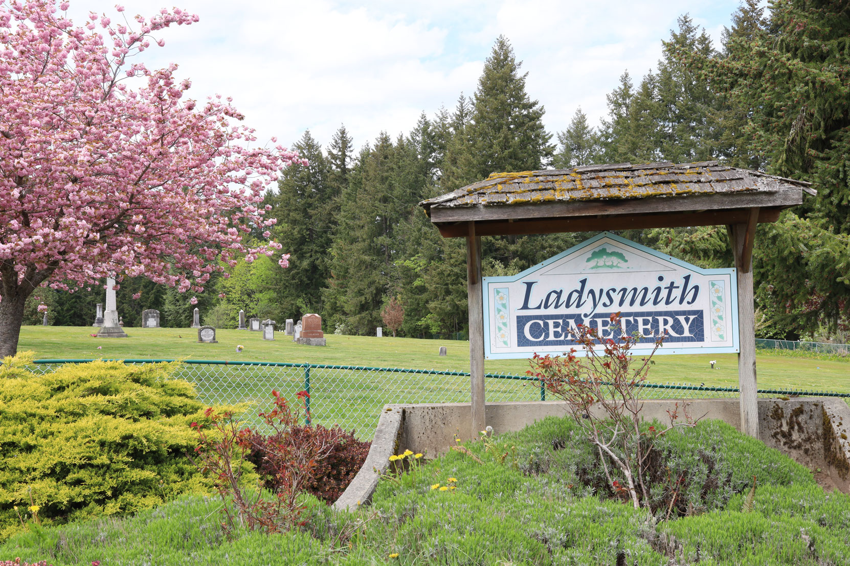 The Ladysmith Cemetery entrance on Christie Road.