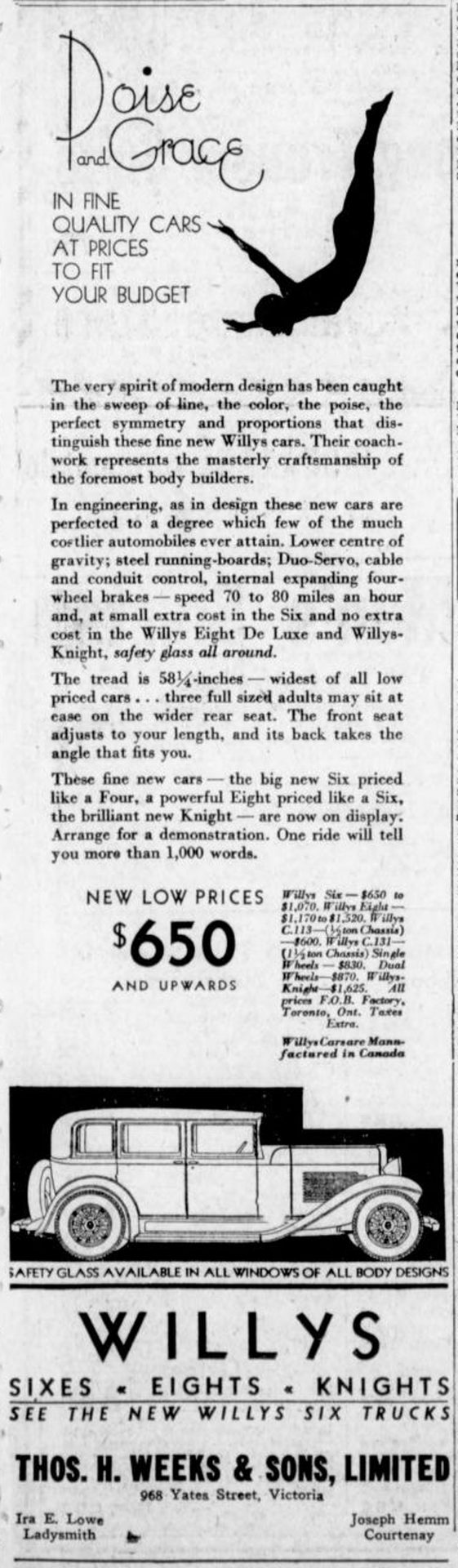 1931 advertisement for Willy's automobiles mentioning Ira E. Lowe as the Ladysmith Willy's dealer. Ira Lowe's automobile business was located at 341 1st Avenue in downtown Ladysmith.