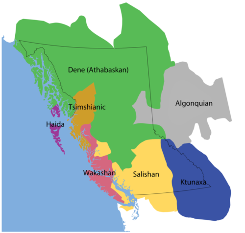 Seven First Nation Language Families in BC
